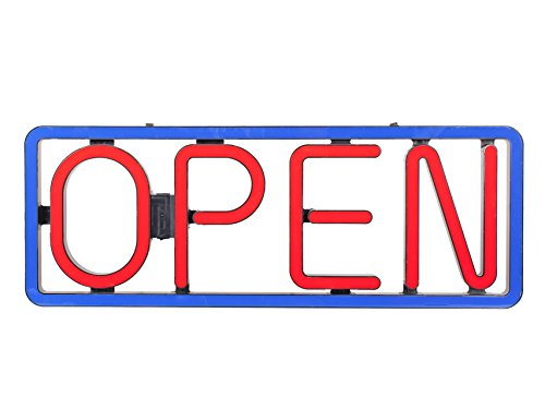 BRIGHT LARGE LETTER HORIZONTAL RECTANGLE LED OPEN DISPLAY SIGN RED BLUE COLOR RESTAURANT BAR LIQUOR SHOP STORE SALON CAFE BUSINESS - Great Hrs Mall