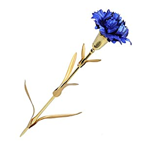 LUOEM Gifts for Mom 24K Gold Foil Artificial Carnation Flowers Handcrafted in Gift Box Best Gift for Mother's Day Thanksgiving and Birthday Favor (Blue) 15