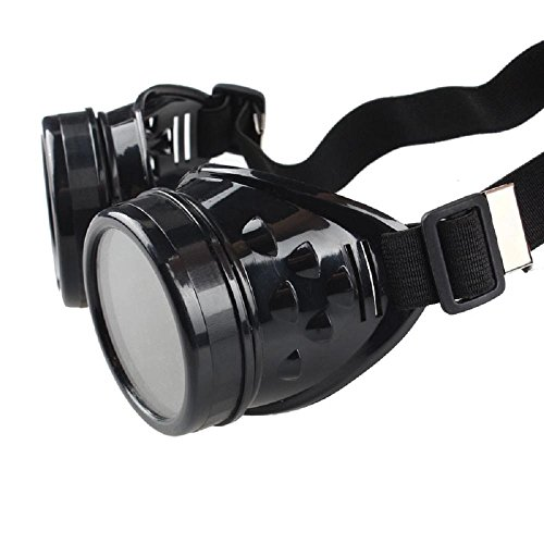 - FTXJ Retro Steampunk Goggles Welding Punk Glasses Cosplay (Black)