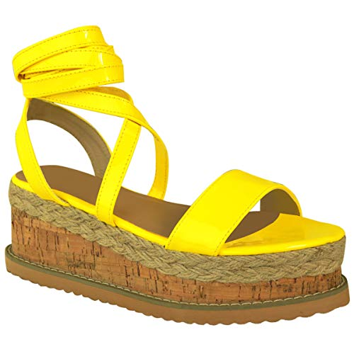 Fashion Thirsty Womens Flatform Cork Espadrille Wedge Sandals Ankle Lace Up Shoes Size (8 US, Yellow Neon Patent)