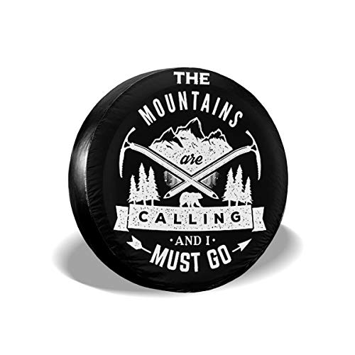 The Mountains are Calling and I Must Go Cars Spare Tire Cover Car Tire Cover Tyre Size 14