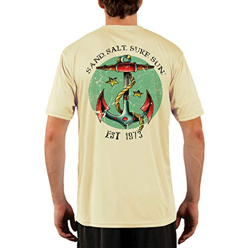 Tattoo Mens Tee - SAND.SALT.SURF.SUN. Traditional Tattoo Anchor Men's UPF 50+ Short Sleeve T-Shirt Large Pale Yellow