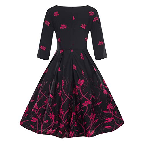 (JJLIKER Women Vintage Floral Print Half Sleeve Fit and Flare Midi Dress with Zipper Party Swing Dress Large Size (S-5XL) Hot Pink)
