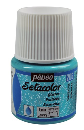 Pebeo 329206 Light Fabrics Glitter Setacolor Fabric Paint, 45ml, Turquoise by Pebeo