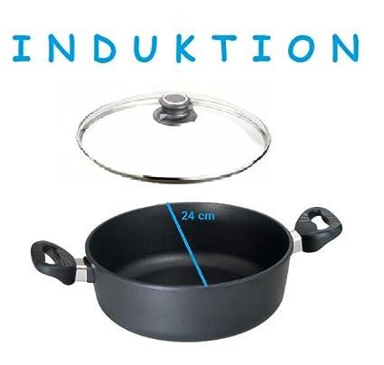 Hierro fundido olla inducción EUROLUX 24 cm H 10 cm, incluye tapa de cristal con