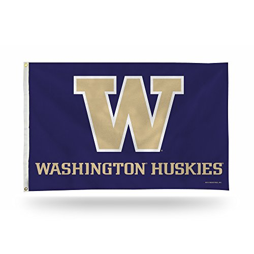 - Rico Industries NCAA Washington Huskies 3-Foot by 5-Foot Single Sided Banner Flag with Grommets