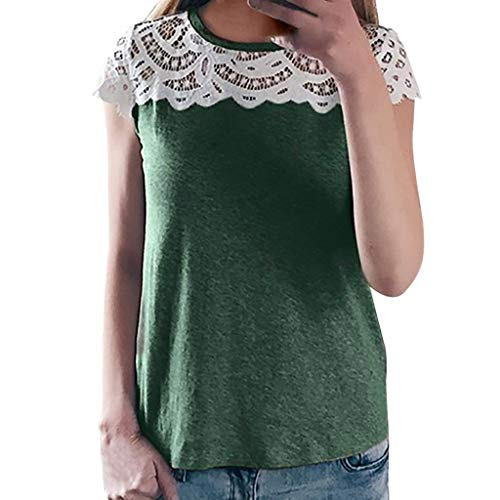Green Capilene Shirt (Lelili Women Floral Lace Patchwork Shirt Sexy Short Sleeve Round Neck Loose Tunic Tops Blouse Green)