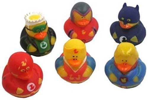 Fun Express Super Hero Rubber Duck Duckies Party Favors - 12 Pieces (Discontinued by Manufacturer)