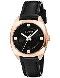 Swiss Quartz Gold-Tone and Leather Dress Black Women's Watch(Model: YA142509)