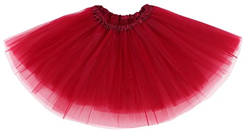 Simplicity Womens Classic Elastic, 3-Layered Tulle Tutu Skirt, 11 inchlong, Burgundy