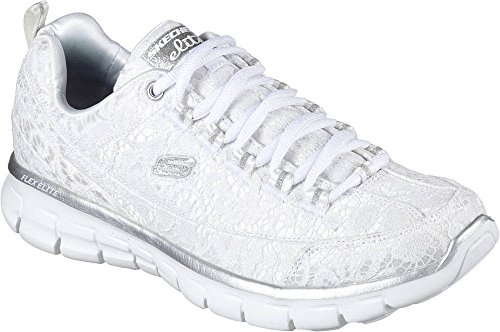 Skechers Synergy-Silky, Sneakers Basses Femme Blanc / Argent