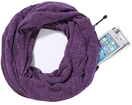 Infinity Scarf with Zipper Secret Pocket for Women Girls Extreme Soft Stretchy Travel Scarves Purple