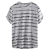Big Size Loose Stripe t Shirts Men,Donci Simple Comfort Short Sleeve Casual Tees Colorful Summer Hawaii Holiday Tops