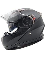 NATHUT Motorradhelm Klapphelm mit Sonnenblende - Integralhelm Helm Motorrad - ECE (M 56-58cm, Schwarz/Matt)