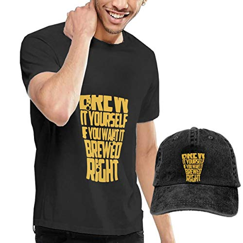 Yiooeea Men's Brew It Yourself If You Want It Brewed Right Tees and Washed Denim Baseball Dad Cap Black M