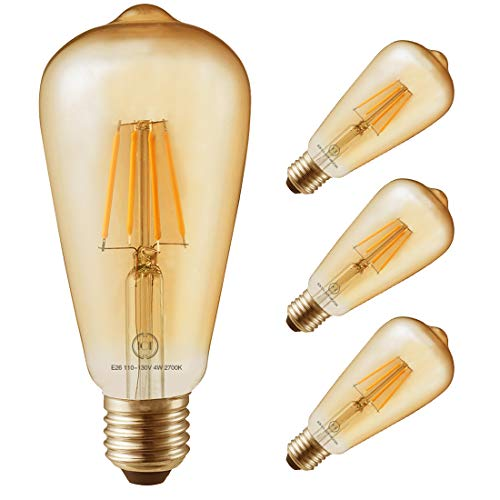 Led Filament Bulb Retro Vintage Edison Style ST64, Dimmable, E26 Medium Base, Warm Color Light, 400 Lumens, 40 Watt Incandescent Equivalent (Amber Color Glass, 4 Watt, Pack of 4)