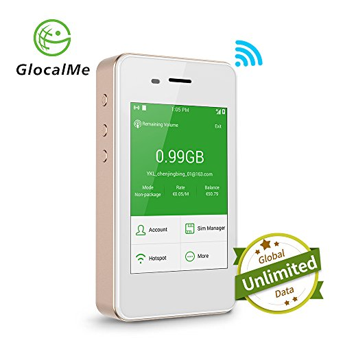 GlocalMe G2 Mobile Hotspot, 4G High Speed Unlimited Data Plan Global WIFI Hotspot, SIM Free No Roaming Charges & Unlocked Internet Access for Travel and Outdoors (Gold) by GlocalMe