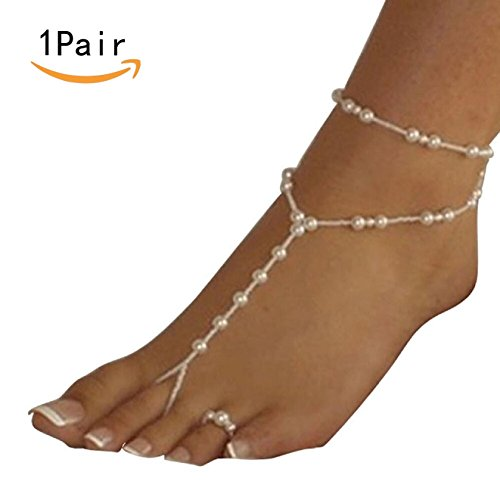 JKLcom Pearl Anklet Chain (1 Pair) Barefoot Sandals Beach Wedding Foot Jewelry Ankle Bridal Bracele (color 2)