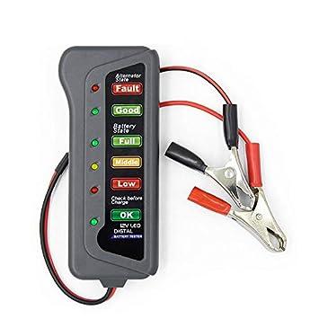 12V Car Digital Battery Alternator Tester 6 LED Lights Display Diagnostic Tool