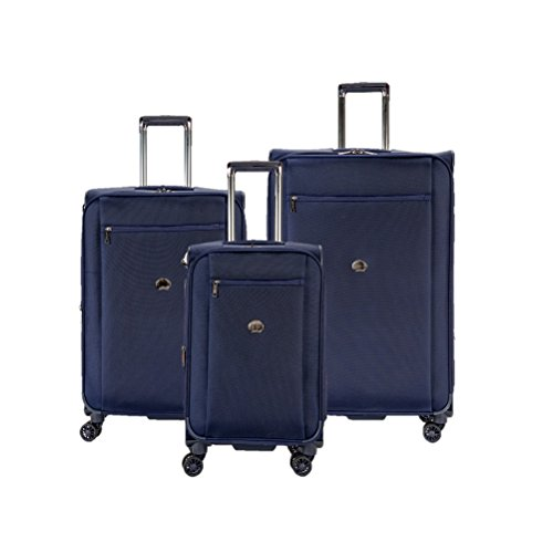 Delsey Luggage Montmartre+ 3 Piece 4 Wheel Lugset, 21/25/29, Navy by DELSEY Paris