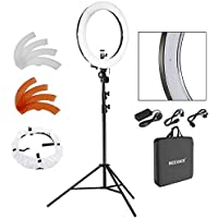 Neewer 18 LED Ring Light Dimmable for Camera Photo Video,Make Up, Youtube, Portrait and Photography Lighting, Includes(1) Ring Light+(1) 9 Feet Heavy Duty Light Stand+(1) Soft & Orange Filter Set