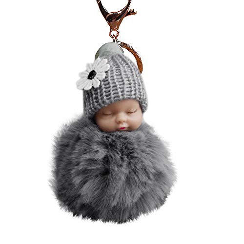 Sleeping Baby Plush Pompom Keychain,Crytech Cute Fluffy Fuzzy Slept Baby Doll Pom Pom Key Chain Handbag Pendant Charm Keyring Ring for Backpack Car Key Purse Cellphone Accessory (Gray)