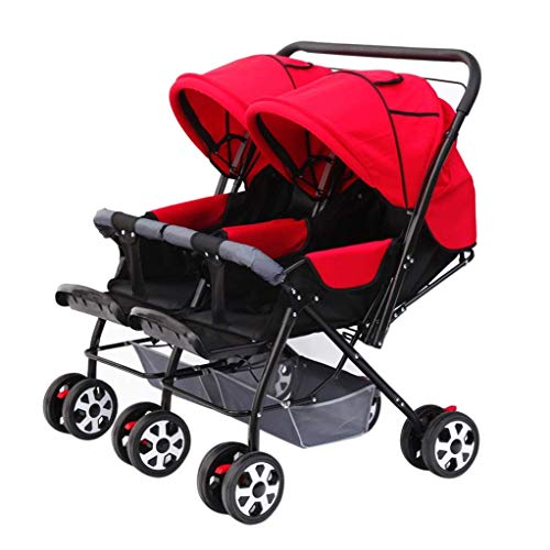 Zsail Baby Carriage High View Side by Side Stroller Foldable Tandem Stroller Together Double Stroller Tandem Stroller (Color : A)