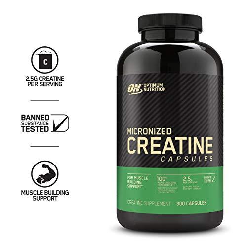 Optimum Nutrition Micronized Creatine Monohydrate Capsules, Keto Friendly, 2500mg, 300 Capsules