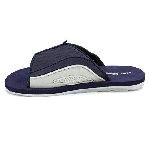 Men's Just Flip Gray amp; Flops Navy Flexible Sandals Speed Cushion Footbed Outsole Slides 5rFHr