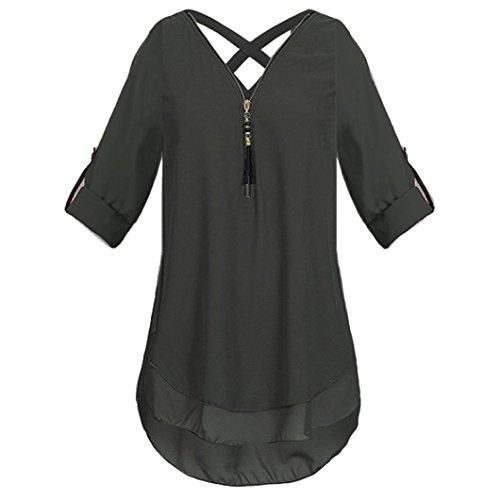 Damen DOLDOA Tops Sommer Schwarz Shirt Frauen Reißverschluss 12 Oberteile T Tank g4pgx