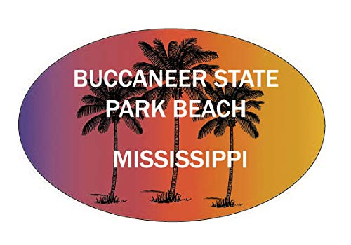 R and R Imports Buccaneer State Park Beach Mississippi Souvenir Palm Trees Surfing Trendy Oval Decal Sticker