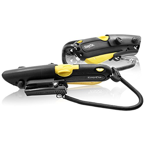 Modern Box Cutter, extra tape cutter at back, dual side edge guide, 3 blade depth setting, 2 blades and holster - Yellow Color 2000