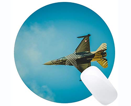 Anti-Slip Round Mouse Pad Mat,Airplane Sky Flight Non-Slip Rubber Base ()