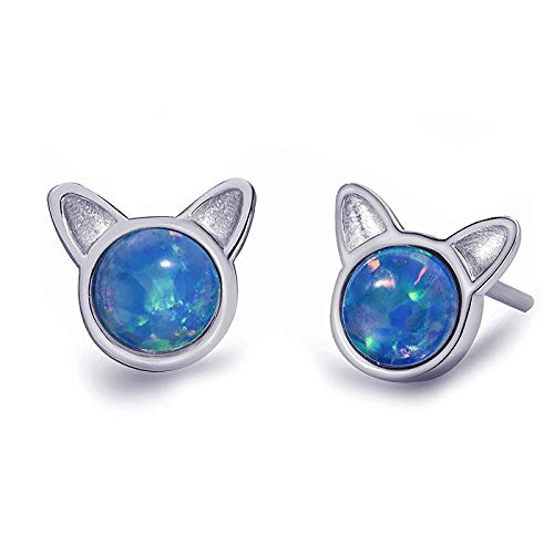Meow Star Cat Earrings Sterling Silver Round Blue Opal Stud Earrings Cat Jewelry for Cat lovers Christmas Gift (Blue opal - rhodium plated)
