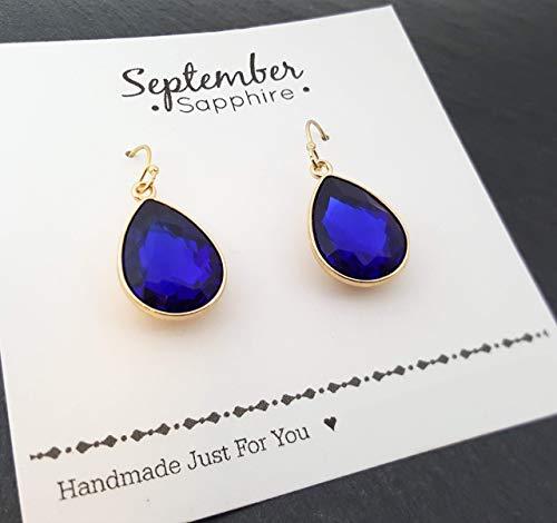 - September Birthstone Earrings - Blue Sapphire Crystal 14k Gold Filled Teardrop Earrings - Gift for Her