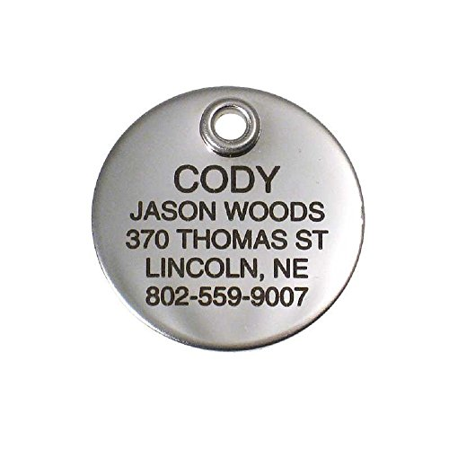 LuckyPet Pet ID Tag - Mirror Finish Stainless Steel Round 1' Dog Tag & Cat Tag, Durable, Easy to Read Custom Engraving on Front, Reflective on Back