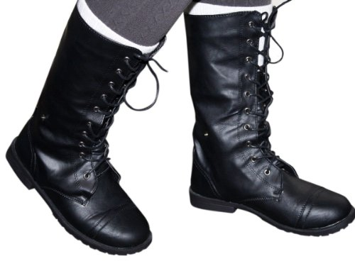 zipper Lace Heel Biker Up Black Military Boots Tall Combat Flat amp; Army Fashion Womens XqpvBawWx