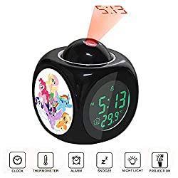 Alarm Clock Projection LED Display Time Digital Children's Black Alarm Clock Talking Voice Prompt Thermometer Snooze Function Desk My Little Pony Mane Six on Clouds