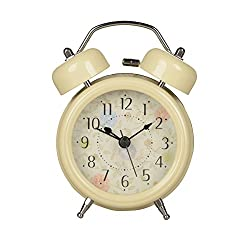 HENSE Classical Retro Twin Bell Mute Silent Quartz Movement Non Ticking Sweep Second Hand Bedside Desk Analog Alarm Clock with Nightlight and Loud Alarm HA01 (off white)