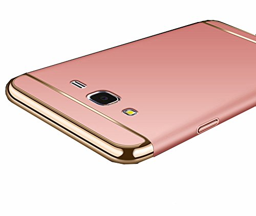 Galaxy Grand Prime Case, Ranyi [3 in 1 Hybrid] [Anti-slip] [Metal Texture] Slim Fit Full Body Design Metal Painting Bumper + Matte Hard Back Cover Case for Samsung Galaxy Grand Prime, rose gold