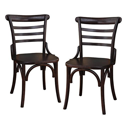 Concave Legs (Adeco Dark Brown Elmwood Dining Chair with Curved Leg and Raised Ladder Back (Set of)