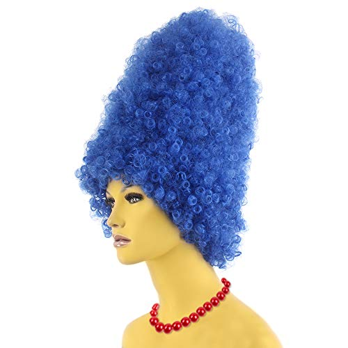 STfantasy Marge Simpson Wig Women Halloween Cosplay Costume 60s Beehive Blue Curly Synthetic Hair -