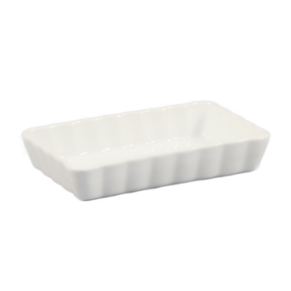 Box of 24 CAC China QSV-8 12.5-Ounce Porcelain Oval Fluted Quiche Baking Dish 8 by 5-3//4-Inch Super White