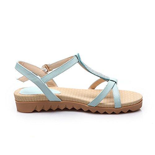 Amoonyfashion Kvinnor Fasta Mjuk Läder Låga Klackar Spänne Öppen Sandaletter Blå