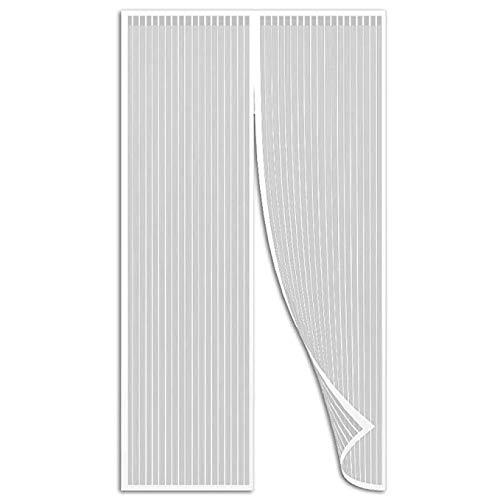 AMCER Zanzariera Magnetica 70x180cm Chiude Automaticamente Bianco Zanzariera Porta Adatto per Porte Fino a Si Chiude da Sola