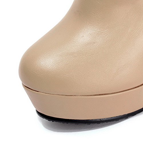 AgooLar Women's Solid High Heels Round Closed Toe Pu Pull On Boots Apricot DHkiSEXQIE