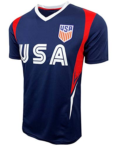 USA Soccer Jersey for Kids and Adults, US Officially Licensed Training Performance Jersey (Youth Large (10-12 Years)) Blue