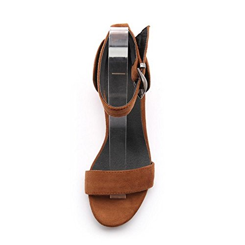 COOLCEPT Mujer Moda Chunky Heel Strappy Sandalias Chicas Colegio Punta Abierta Zapatos Amarillo
