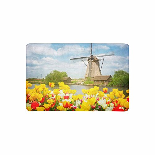 InterestPrint Holland Dutch Windmill Over Colorful Tulips Field at Sunny Day Doormat Non-Slip Indoor And Outdoor Door Mat Rug Home Decor, Rug Floor Mats Rubber Backing, 23.6
