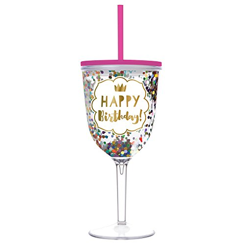 Birthday Wine Glass - Happy Birthday Double Wall Acrylic Wine Glass With Lid and Straw (13 oz, Multicolor Confetti) - Happy Birthday Cups